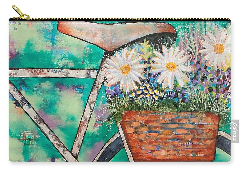 Bike Carry-all Pouch featuring the painting Pedal Petal by Amber Malarsie Moritz