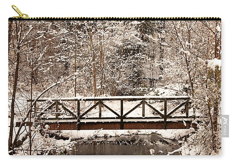 Winter Carry-all Pouch featuring the photograph Pedestrian Bridge In The Snow by Michael Porchik