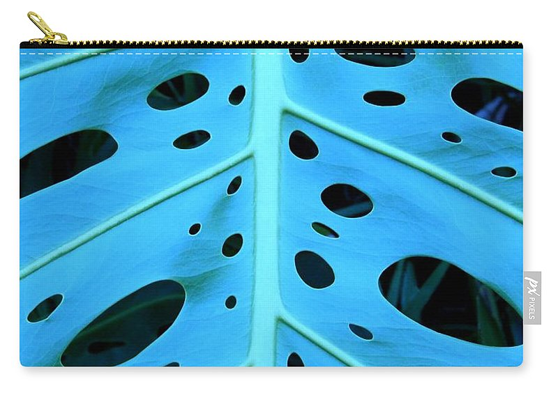 Blue Carry-all Pouch featuring the photograph Peek-a-boo Leaf by Mary Deal