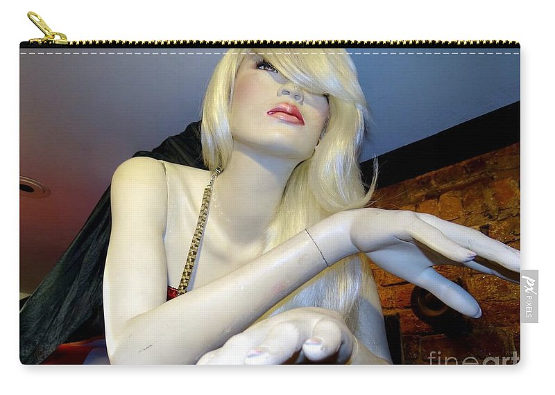 Mannequins Carry-all Pouch featuring the photograph Peekaboo Blonde by Ed Weidman