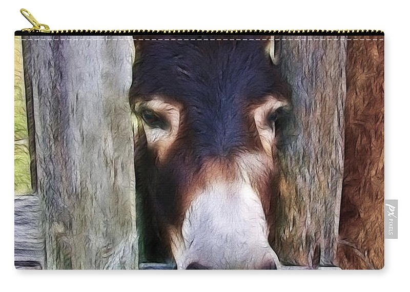 Donkey Carry-all Pouch featuring the photograph Peeking Thru The Fence by Athena Mckinzie