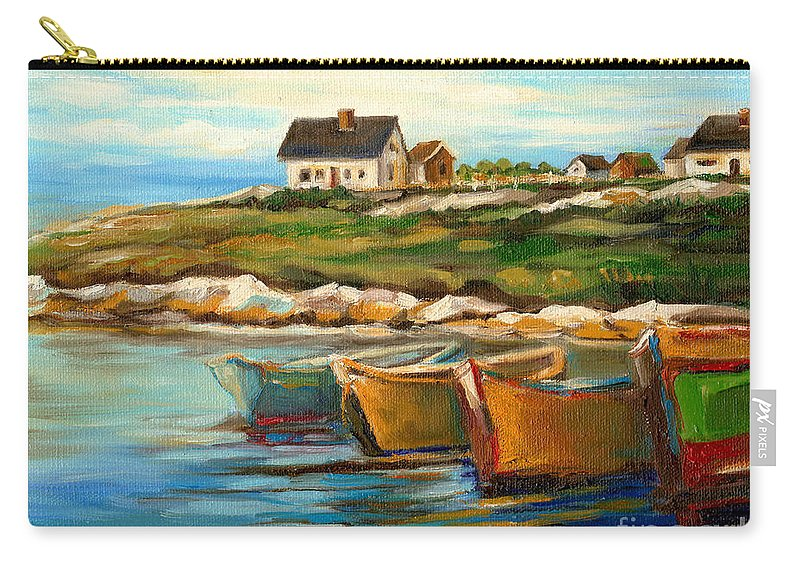 Peggys Cove Carry-all Pouch featuring the painting Peggys Cove With Fishing Boats by Carole Spandau
