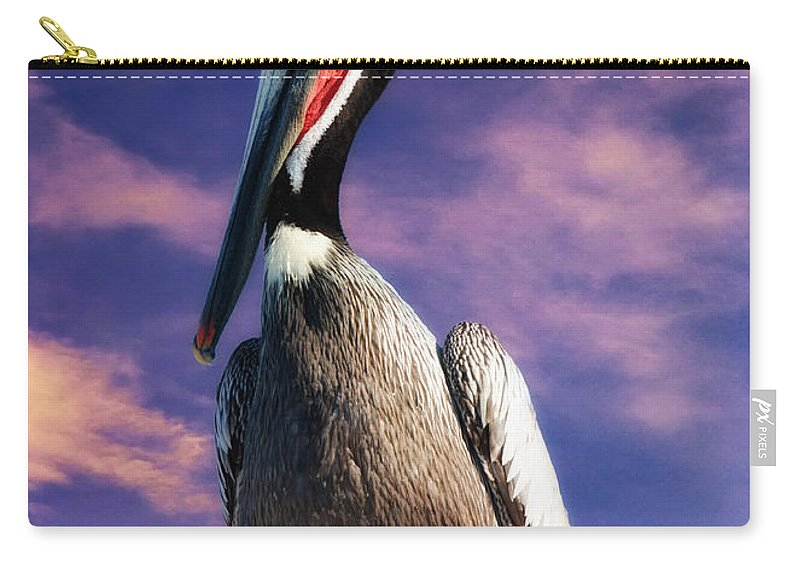 Pelican At Sunset Carry-all Pouch featuring the photograph Pelican At Sunset by OLena Art Brand