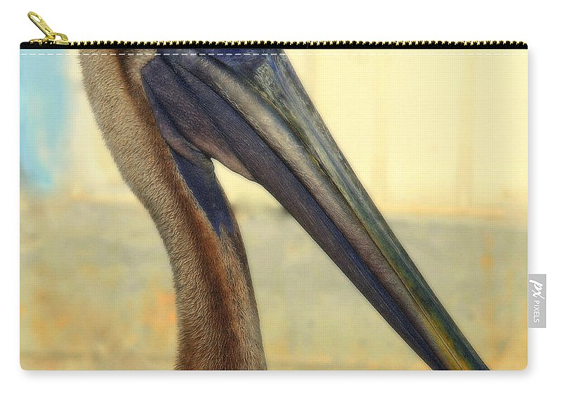 Pelicans Carry-all Pouch featuring the photograph Pelican Bill by Karen Wiles