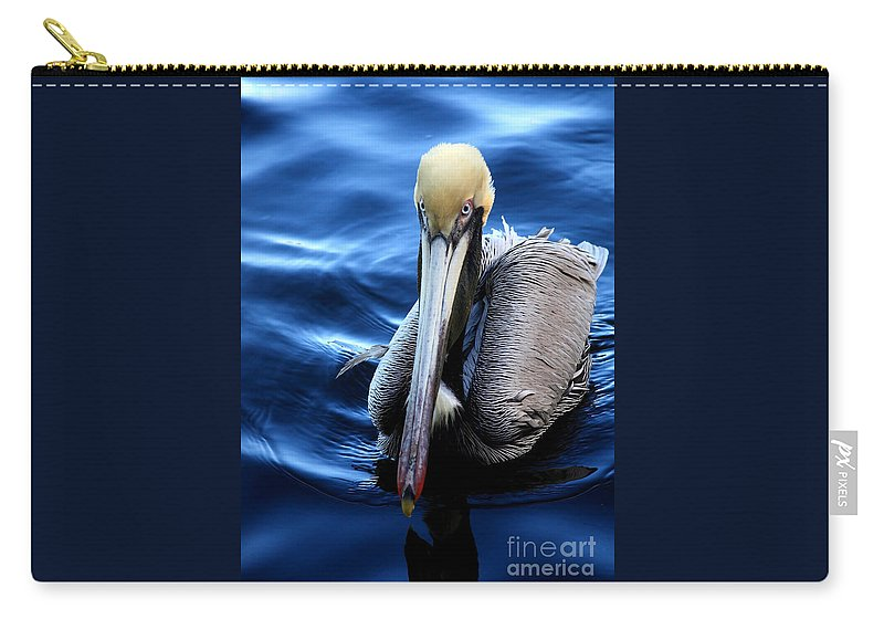 Pelican Carry-all Pouch featuring the photograph Pelican In The Bay by Carol Groenen