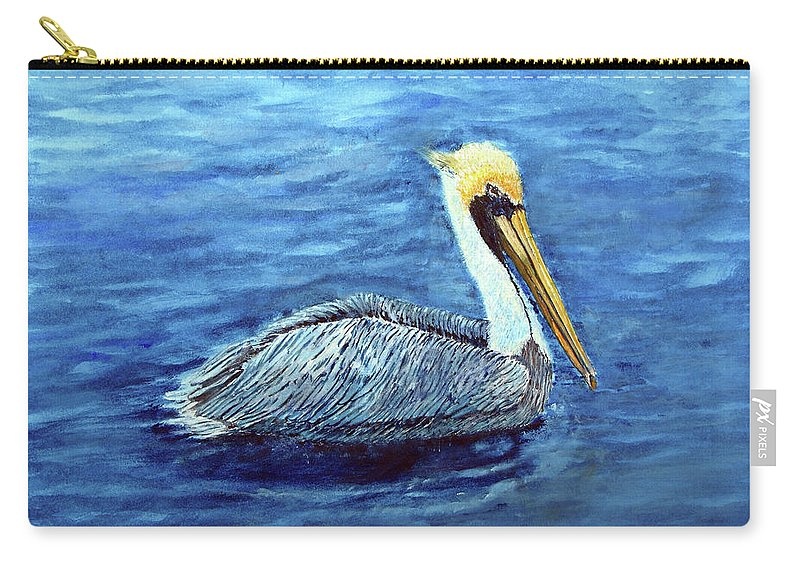 Brown Pelican Carry-all Pouch featuring the painting Pelican by Loretta Luglio
