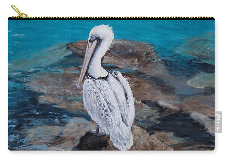 Pelican Carry-all Pouch featuring the painting Pelican On The Rocks by Jeremy Reed