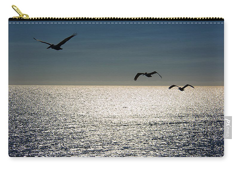 Pelicans Carry-all Pouch featuring the photograph Pelicans In Flight by Erika Fawcett