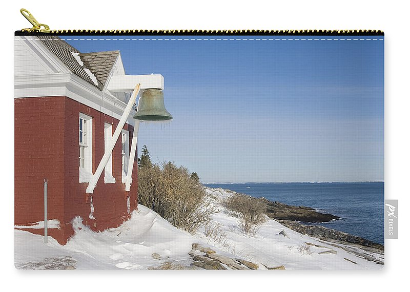 Pemaquid Point Lighthouse Carry-all Pouch featuring the photograph Pemaquid Point Bell House On The Maine Coast by Keith Webber Jr