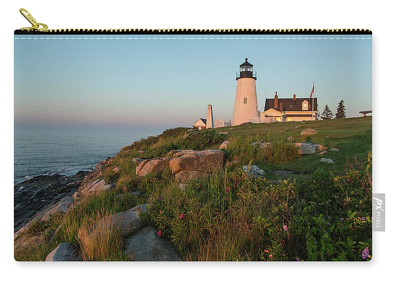Tranquility Carry-all Pouch featuring the photograph Pemaquid Point Maine Lighthouse by Dave Mention Photography