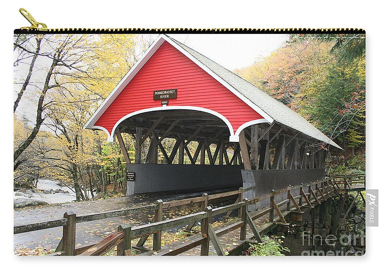 Covered Bridge Carry-all Pouch featuring the photograph Pemigewasset River Covered Bridge In Fall by Christiane Schulze Art And Photography