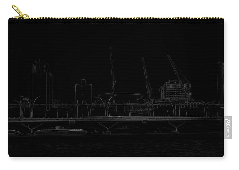 Action Carry-all Pouch featuring the digital art Pencil - Bridge On The Marina Reservoir And Some Construction Cranes by Ashish Agarwal