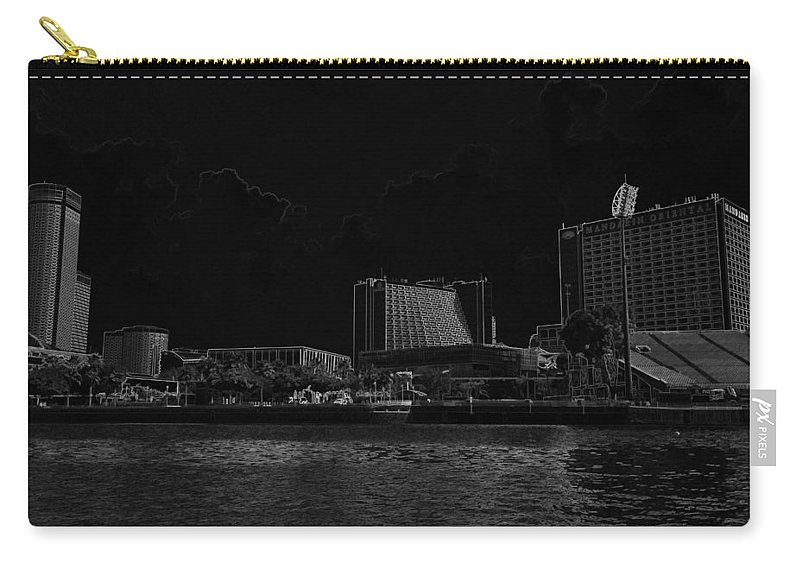 Action Carry-all Pouch featuring the digital art Pencil - Buildings Along The Waterfront In Singapore by Ashish Agarwal