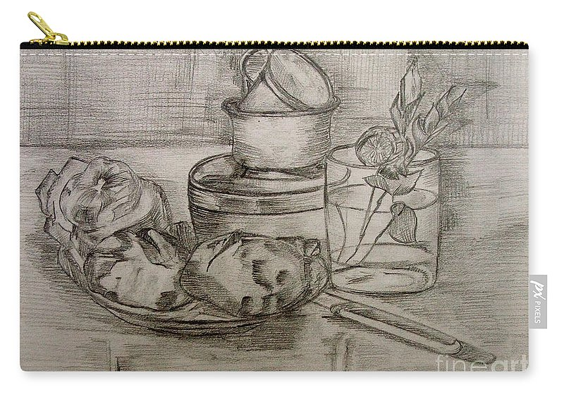 Still-life Carry-all Pouch featuring the painting Pencil Still-life. by Caroline Street