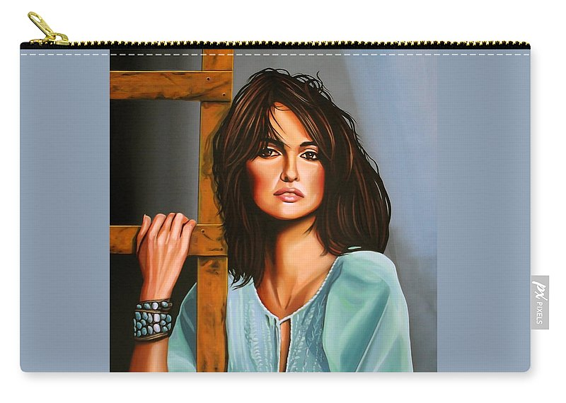 Penelope Cruz Carry-all Pouch featuring the painting Penelope Cruz by Paul Meijering