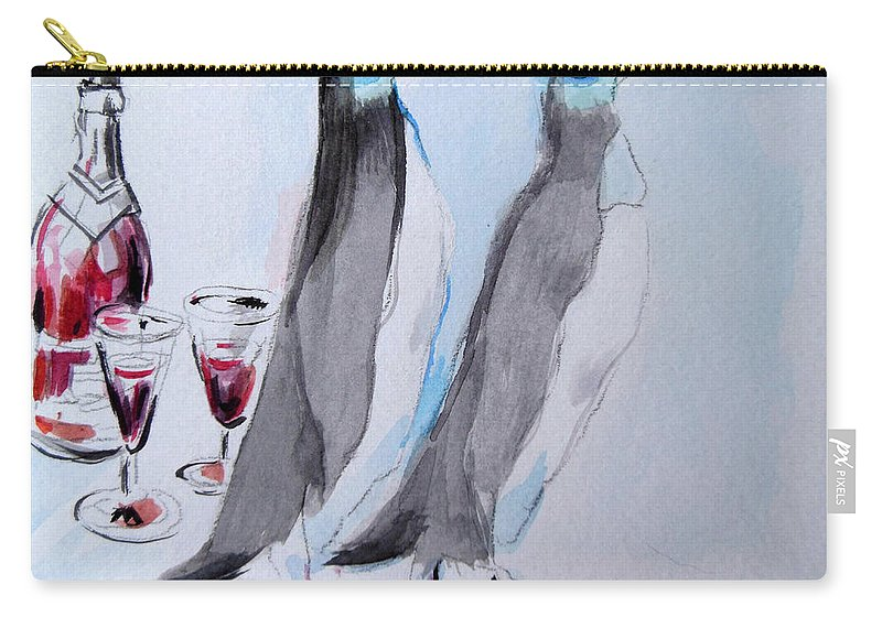 Penguins Carry-all Pouch featuring the painting Penguins by Lucia Hoogervorst