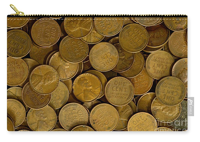 Penny Carry-all Pouch featuring the photograph Pennies by Paul W Faust - Impressions of Light