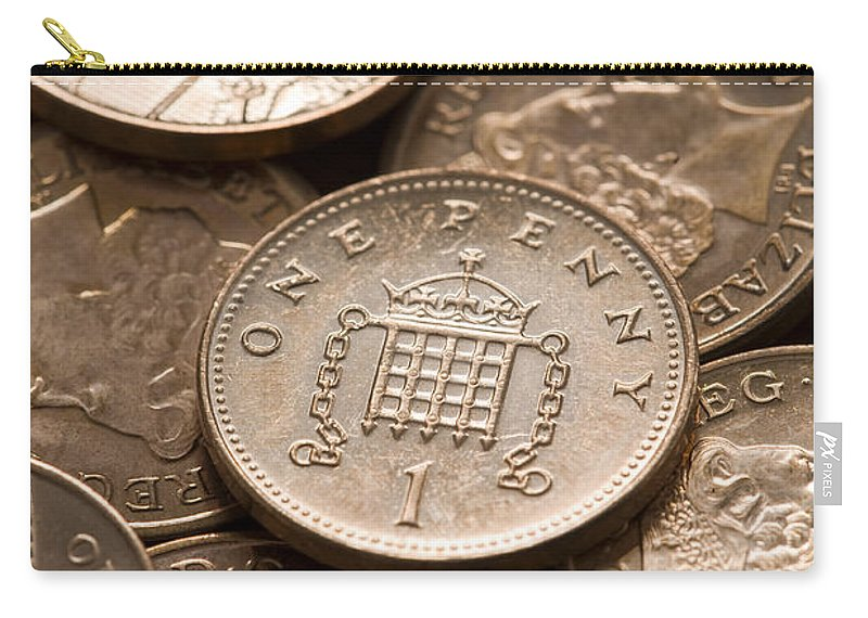 Pennies Carry-all Pouch featuring the photograph Pennies Sterling Full Frame by Lee Avison