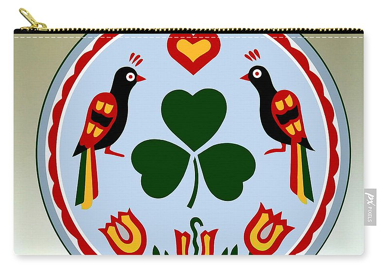 Folk Art Carry-all Pouch featuring the painting Pennsylvania Dutch Hex 16 by Hanne Lore Koehler