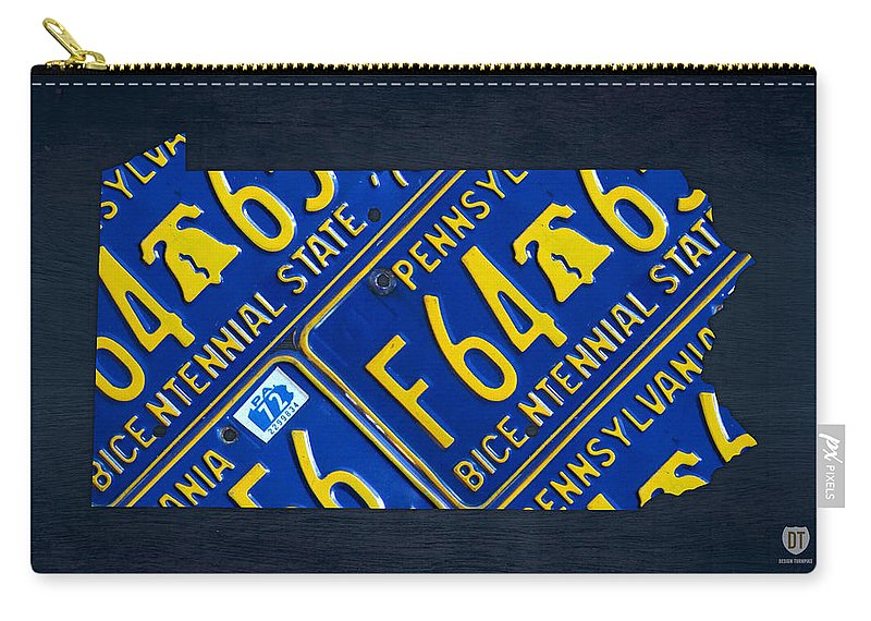 Pennsylvania Carry-all Pouch featuring the mixed media Pennsylvania State License Plate Map by Design Turnpike