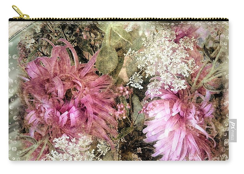Flowers Carry-all Pouch featuring the painting Penny Postcard Pearlescent by RC DeWinter