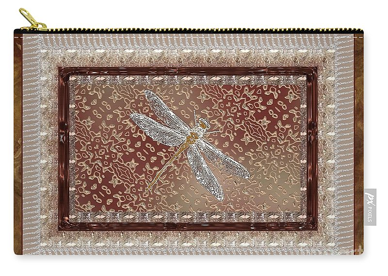 Dragonfly Carry-all Pouch featuring the painting Penny Postcard Sophisticated by RC DeWinter