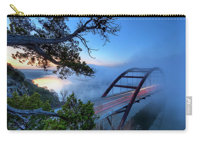 Tranquility Carry-all Pouch featuring the photograph Pennybacker Bridge In Morning Fog by Evan Gearing Photography