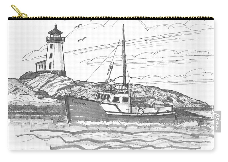 Lighthouse Carry-all Pouch featuring the drawing Peggy's Cove Lighthouse Nova Scotia by Richard Wambach