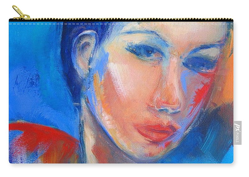 Face Carry-all Pouch featuring the painting Pensive by Elise Palmigiani