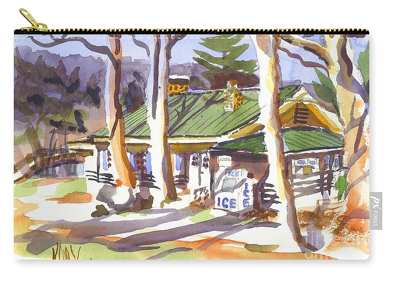 Kipdevore Carry-all Pouch featuring the painting Penuel Lodge In Winter by Kip DeVore