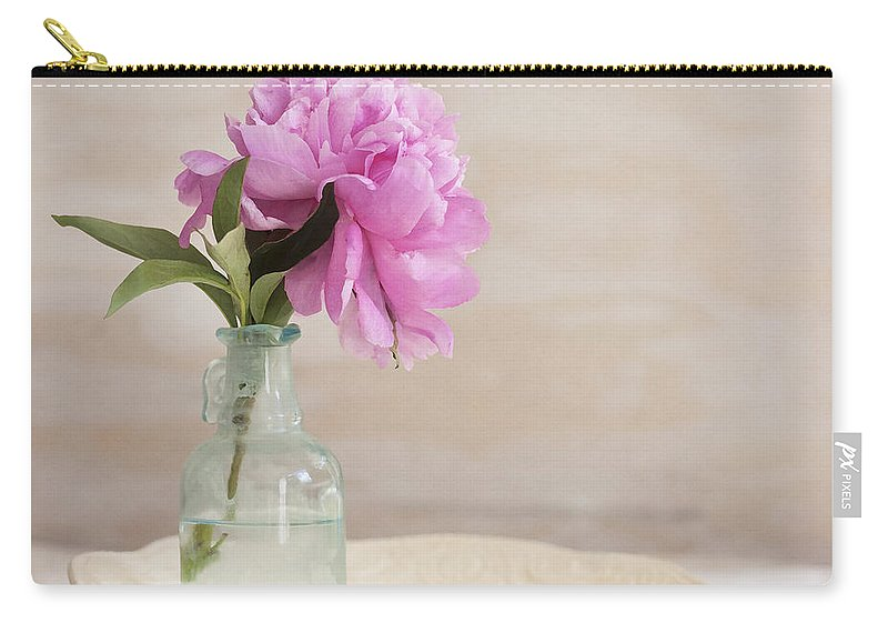 Peony Carry-all Pouch featuring the photograph Peony And Blue Bottle by Rich Franco