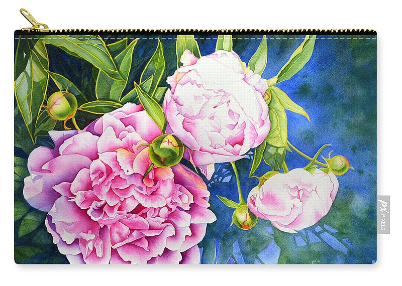 Watercolor Pink Peonies Carry-all Pouch featuring the painting Peony by H Cooper