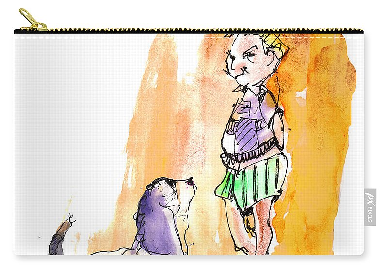 Sketch Carry-all Pouch featuring the painting People And Their Dogs 01 by Miki De Goodaboom