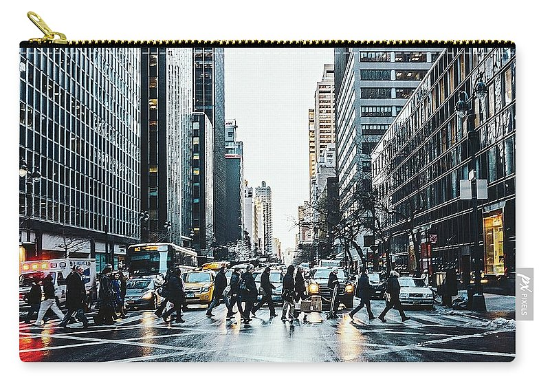 Pedestrian Carry-all Pouch featuring the photograph People Walking On City Street by Sven Hartmann / Eyeem