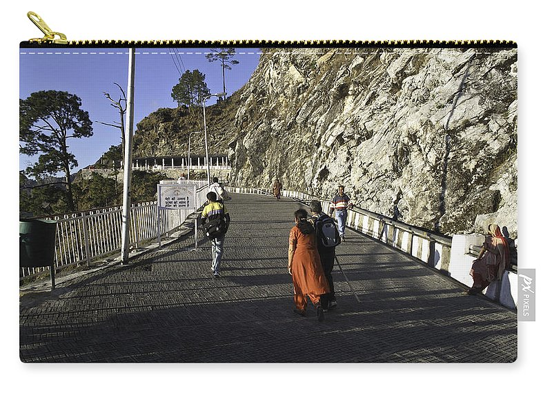 Clinging To Mountainside Carry-all Pouch featuring the photograph People Walking On The Path Leading To Shrine Of Vaishno Devi by Ashish Agarwal