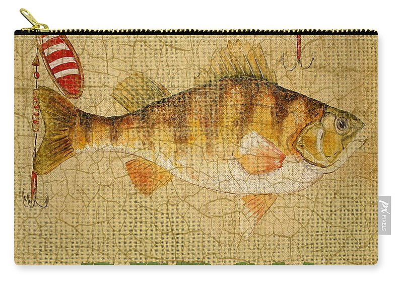 Acrylic Painting Carry-all Pouch featuring the painting Perch On Burlap by Jean Plout
