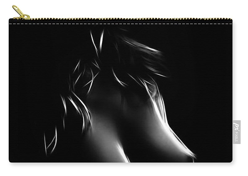 Girl Female Woman Nude Naked Boobs Tits Black White Erotic Sensual Sexy Hot Beauty Carry-all Pouch featuring the painting Perfect Shapes by Steve K