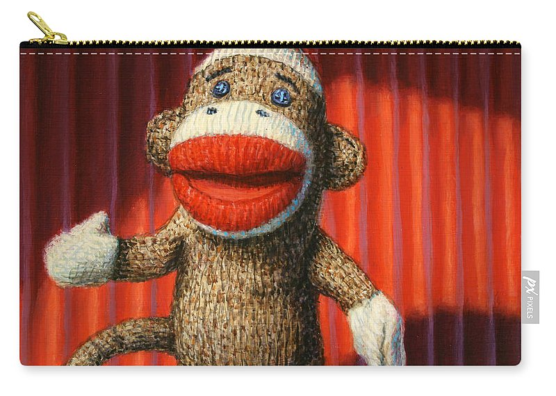 Sock Monkey Carry-all Pouch featuring the painting Performing Sock Monkey by James W Johnson