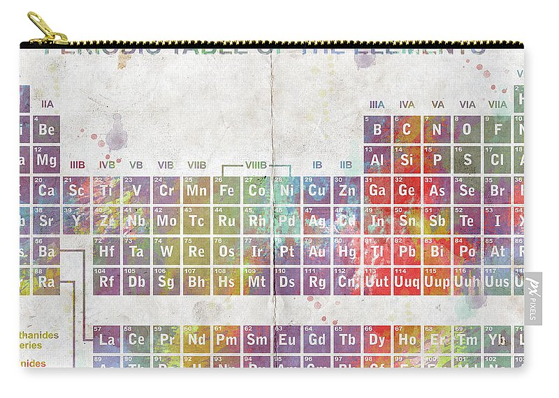 Feature Art Carry-all Pouch featuring the digital art Periodic Table Of The Elements by Paulette B Wright