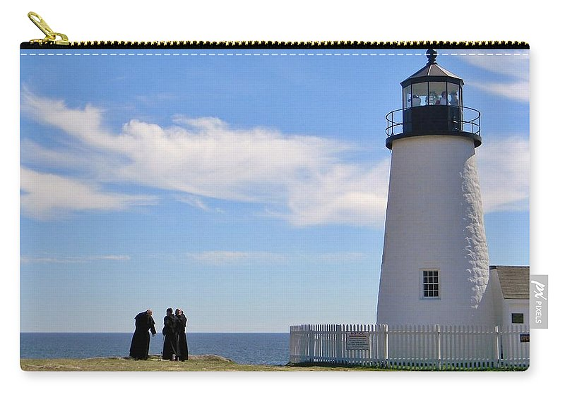 Pemaquid Lighthouse Carry-all Pouch featuring the photograph Pemaquid Lighthouse Visitors by Jean Goodwin Brooks