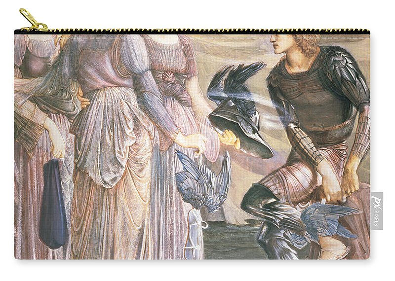 Pre-raphaelite Carry-all Pouch featuring the drawing Perseus And The Sea Nymphs, C.1876 by Sir Edward Coley Burne-Jones
