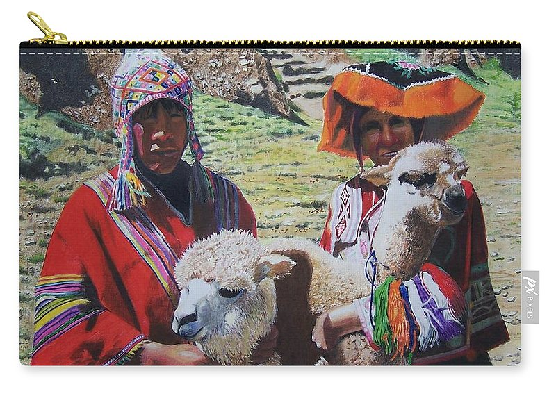 Landscape Carry-all Pouch featuring the mixed media Peruvians by Constance Drescher