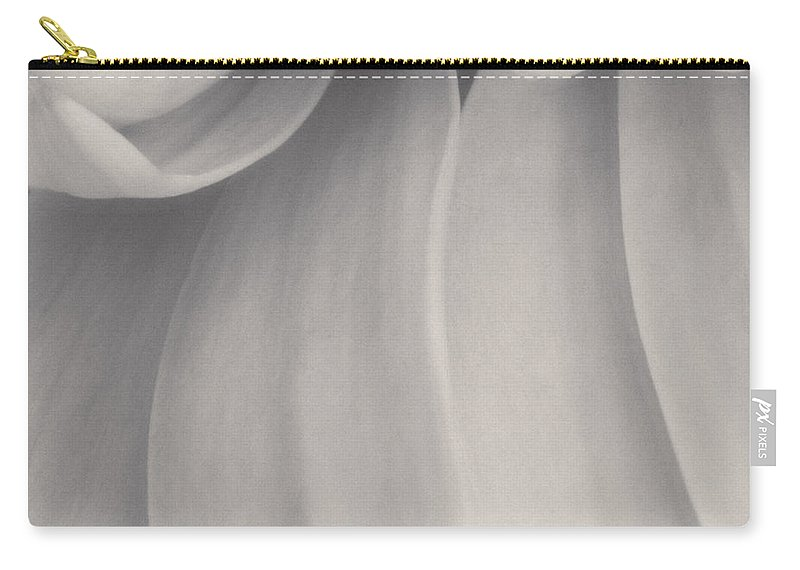 Petals Carry-all Pouch featuring the photograph Petal Pathways Black And White by Kyra Savolainen