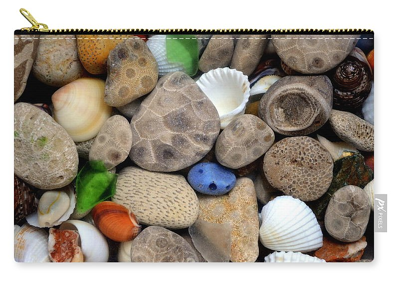 Stone Carry-all Pouch featuring the photograph Petoskey Stones lll by Michelle Calkins