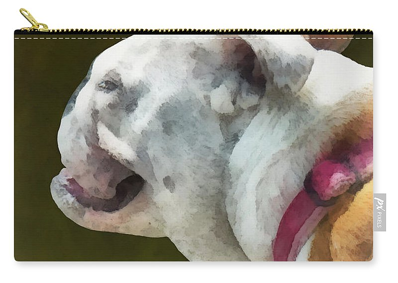 Bulldog Carry-all Pouch featuring the photograph Pets - English Bulldog Profile by Susan Savad