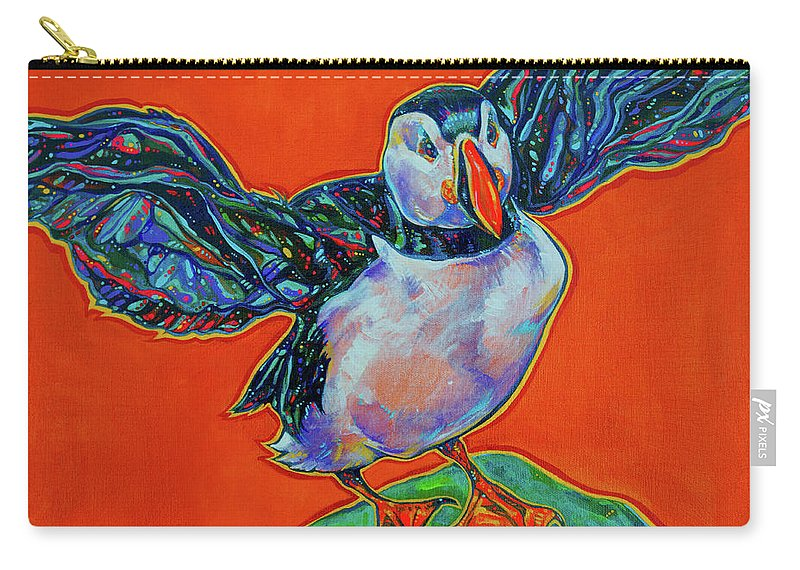 Puffin Carry-all Pouch featuring the painting Petty Harbour Puffin by Derrick Higgins