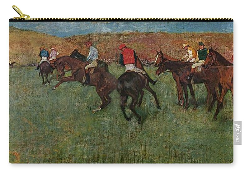 Edgar Degas Carry-all Pouch featuring the digital art Pferderennen Vor Dem Start by Edgar Degas