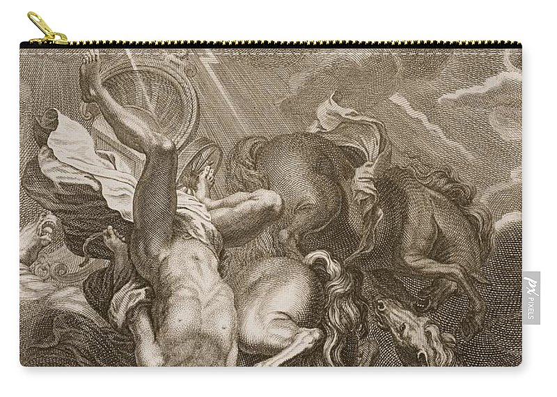 Jupiter Carry-all Pouch featuring the drawing Phaeton Struck Down By Jupiter's Thunderbolt by Bernard Picart