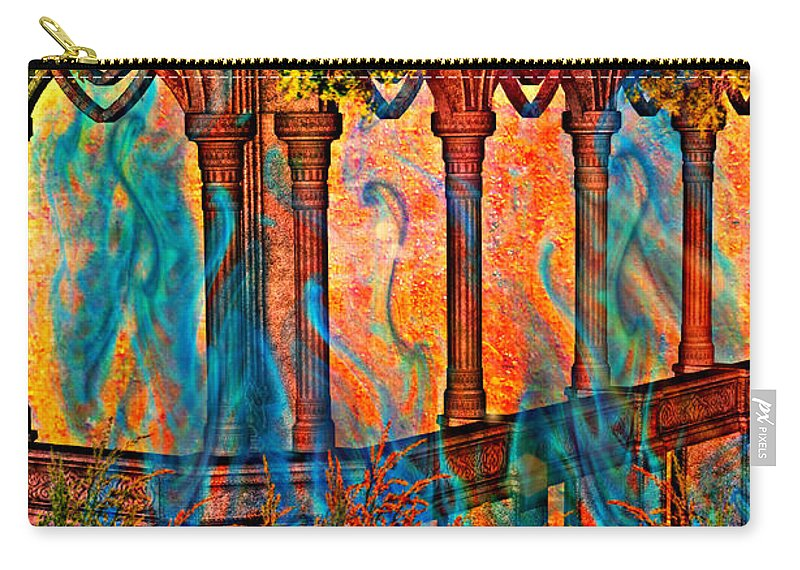 Phantom Fire Carry-all Pouch featuring the painting Phantom Fires by Ally White