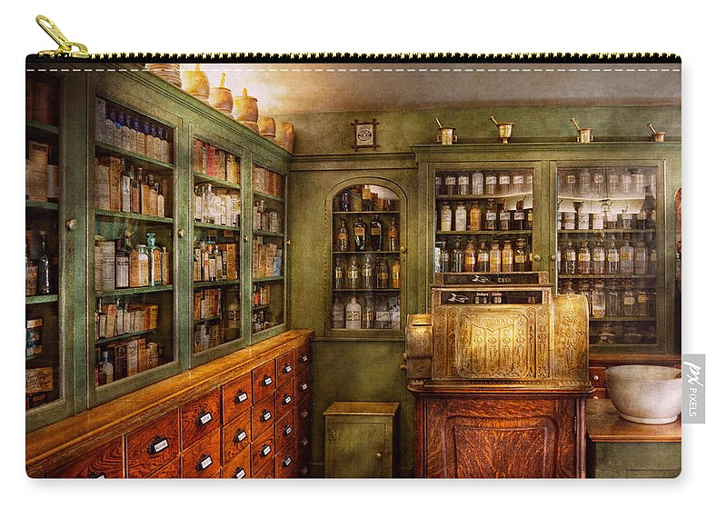 Doctor Carry-all Pouch featuring the photograph Pharmacy - Room - The Dispensary by Mike Savad